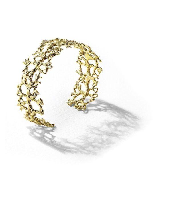 Manchette Lichen plaquée or Laura Guitte Jewellery